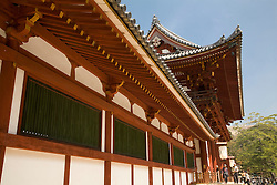 Asia, Japan, Honshu island, Nara, Great Buddha Hall (Daibutsuden), in the Todaiji Temple complex.  Constructed in 752 and rebuilt in 1692, it is the largest wooden building in the world and a U.N. World Heritage Site