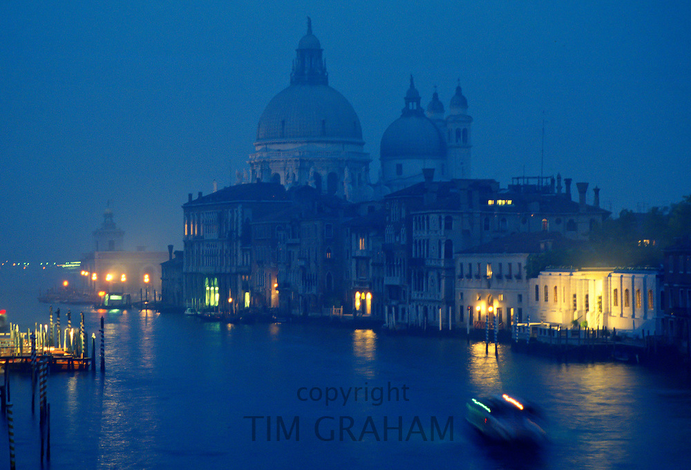The Grand Canal at dusk in Venice, Italy.