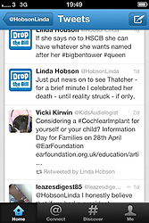 © licensed to London News Pictures. London, UK. 25/03/12. Labour councillor for Westerhope Ward, Newcastle, Linda Hobson causes controversy after tweet suggesting she would celebrate the death of ex-Prime Minister Margaret Thatcher. Conservative MP Louise Mensch described the tweet as 'hate speech' . Photo credit: LNP