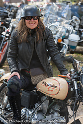 Jane Lastella of Leominster, MA is happy to be missing out on the snow storm at home. Jane is riding her 1969 Italian made (Aermacchi) Harley-Davidson Sprint at The Broken Spoke Saloon during Daytona Beach Bike Week. FL. USA. Tuesday, March 14, 2017. Photography ©2017 Michael Lichter.