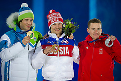 19.02.2014, Olympic Park, Adler, RUS, Sochi, 2014, Medaillenfeier, im Bild Zan Kosir (SLO) Bronze, Vic Wild (RUS) Gold, Nevin Galmarini (SUI) Silber waehrend der Medaillenfeier // during Medal Ceremony of the Olympic Winter Games Sochi 2014 at the Olympic Park in Adler, Russia on 2014/02/19. EXPA Pictures © 2014, PhotoCredit: EXPA/ Freshfocus/ Urs Lindt<br /> <br /> *****ATTENTION - for AUT, SLO, CRO, SRB, BIH, MAZ only*****