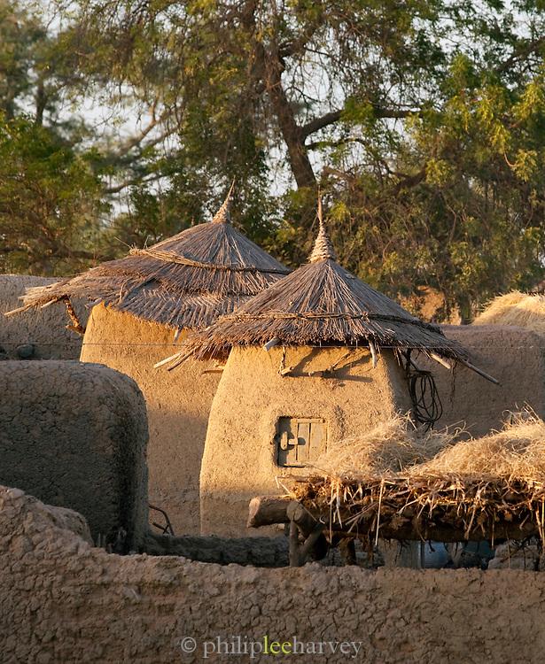 Grain storage huts in a small, rural village near Djenné, Mali