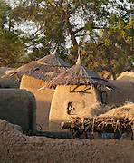 Grain storage huts in a small, rural village near Djenné, Mali