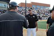 WINSTON-SALEM, NC - JUNE 02: Wake Forest's head coach Tom Walter (right) shakes hands with UMBC head coach Bob Mumma (left). The Wake Forest Demon Deacons hosted the University of Maryland Baltimore County Retrievers on June 2, 2017, at David F. Couch Ballpark in Winston-Salem, NC in NCAA Division I College Baseball Tournament Winston-Salem Regional Game 2. Wake Forest won the game 11-3.