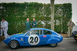 © Licensed to London News Pictures. <br /> 13/09/2019. <br /> Goodwood.West, Sussex. UK.<br /> The Goodwood Motor Circuit celebrates the 21st year of the Revival.This has become one of the biggest annual historic motorsport events in the world and the only one to be staged entirely in period dress. Each year over 150,000 people descend on this quiet corner of West Sussex to enjoy the three-day event.<br /> Pictured A classic racing Mini Marcos. <br /> <br /> Photo credit: Ian Whittaker/LNP