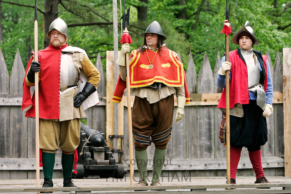 Historical performers in costume in re-created colonial fort, Jamestown, Virginia, United States of America