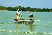 Net Fishing on the Thu Bon River which runs right through Hoi An. The river has its share of natural as well as man-made beauty and a wide array of boats, ferries and rowboats giving the place life.