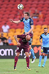 January 8, 2018 - Brisbane, QUEENSLAND, AUSTRALIA - Alexander Wilkinson of Sydney (4, top) and Massimo Maccarone of the Roar (9) compete for the ball during the round fifteen Hyundai A-League match between the Brisbane Roar and Sydney FC at Suncorp Stadium on Monday, January 8, 2018 in Brisbane, Australia. (Credit Image: © Albert Perez via ZUMA Wire)