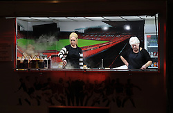 Burger bar staff prepare for fans arrival prior to the match