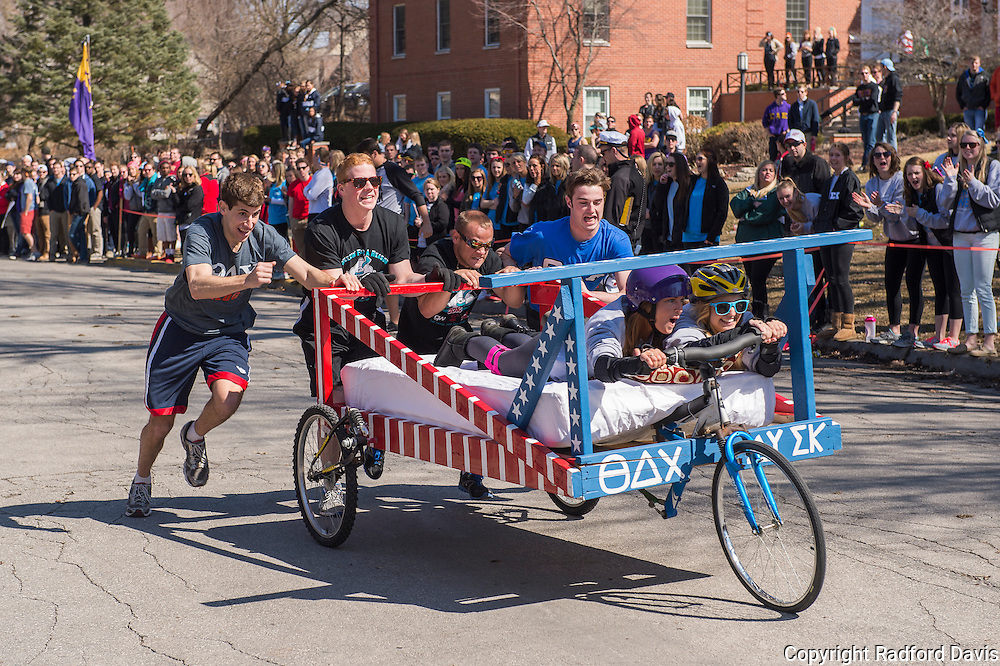 Bed racing at the finish line.
