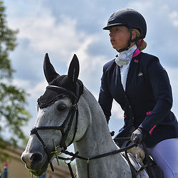 Emily Hislop Webb Badminton Horse trials Gloucester England UK May 2019 Emily Hislop-Webb equestrian eventing representing Great Britain riding Waldo III in the Badminton Horse trials. Badminton Horse trials 2019 Winner Piggy French wins the title