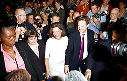 Nick Clegg Deputy Prime Minister and party leader and wife Miriam Gonzalez Durantez walk through the crowd after his Keynote speech at the Liberal Democrats Annual Party Conference, Brighton, Great Britain, September 26, 2012. Photo by Elliot Franks/i-Images.
