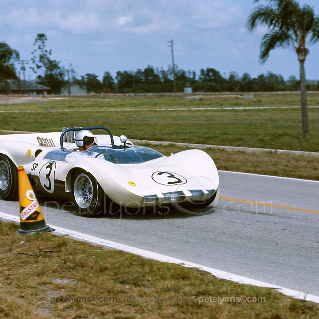 Jim Hall in his winning Chaparral 2 at 1965 Sebring 12-hours race.PLEASE CREDIT photo by Ozzie Lyons / www.petelyons.com