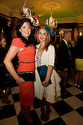 Milliner Joanne O Hara and Sinéad Clarke Knitwear designer from Castlebar , Co. Mayo at Hotel Meyrick in Eyre Sq. Galway for their best dressed Lady Competition during Galway's Race week . Photo:Andrew Downes