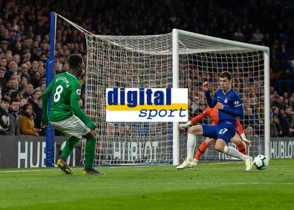 Football - 2018 / 2019 Premier League - Chelsea vs. Brighton & Hove Albion<br /> <br /> Yves Bissouma Brighton & Hove Albion) slide the ball back across the face of the Che;sea goal at Stamford Bridge <br /> <br /> COLORSPORT/DANIEL BEARHAM