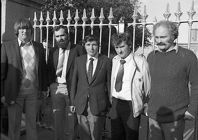 Release of Fishermen from Mountjoy..1982.22.10.1982.10.22.1982.22nd October 1982.As a result of E.U Fisheries policy, in regard to a total ban on herring fishing in the Irish Sea,blockades of eastern fishing ports were started. Several fishermen were imprisioned as a result..(L-R) Tony Faherty,Kilronan, Nicholas McMahon,Cahirciveen, Joe Maddoch,Chairman,IFO,Kilmore Quay, Joe O'Shea,Cahirciveen and Peter Mullen,Kilronan, on their release from prison...pictures  of ireland.pictures.Photos of Ireland.Photos .old pictures.old photos  of ireland.old photos.old photographs  of ireland.old photographs. images of Ireland.images.historic images  of ireland.historic images.Black and White images of Ireland