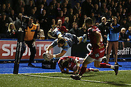 Blaine Scully of Cardiff Blues dives over for a spectacular try in the 2nd half.  Guinness Pro12 rugby match, Cardiff Blues v Scarlets at the BT Cardiff Arms Park in Cardiff, South Wales on Friday 28th October 2016.<br /> pic by Andrew Orchard, Andrew Orchard sports photography.