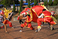 The Mid-Autumn Festival, also known as the Moon Festival or Harvest Moon Festival is celebrated with lion dances, moon cakes.   It is usually held around mid or late September in China, Vietnam and Chinatowns around the world.