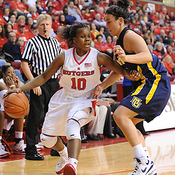 Jan 18, 2009; Piscataway, NJ, USA;  Rutgers guard Epiphanny Prince (10) fights for space from Marquette forward Marissa Thrower (42) during the second half of Rutgers' 76-53 victory at the Louis Brown Athletic Center.