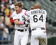 "CHICAGO - MAY 10:  Gordon Beckham #15 of the Chicago White Sox ""stirs the drink"" as he celebrates with teammates after hitting a game winning, walk-off single against the Cincinnati Red on May 10, 2015 at U.S. Cellular Field in Chicago, Illinois.  (Photo by Ron Vesely)   Subject:   Gordon Beckham"
