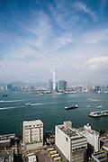 View of Hong Kong harbor and International Commerce Center tower in Kowloon, Hong Kong