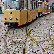 Old tram in Bergen. Three weeks aboard the Kong Harald. Hurtigruten, the Coastal Express. Bergen.