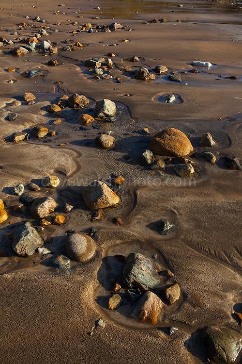 Rocks on the beach Silver Strand, or Trabane Beach, near Malin Beg, Donegal, on Ireland's Wild Atlantic Way.
