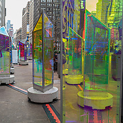 Manhattan streets remain sparse to both visitors and traffic as the Prismatica Art Instillation is seen empty during the Coronavirus (Covid-19) pandemic on Tuesday, January 19, 2021 in Manhattan, New York. (Alex Menendez via AP)