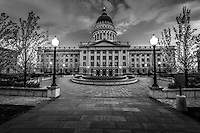 The inner gardens of the Salt Lake City Capitol Building provide an inner sanctuary to a political experience.  As day turns to night, a peaceful feel takes hold.