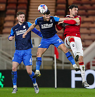 Preston North End's Ched Evans vies for possession with Middlesbrough's Grant Hall<br /> <br /> Photographer Alex Dodd/CameraSport<br /> <br /> The EFL Sky Bet Championship - Middlesbrough v Preston North End - Tuesday 16th March 2021 - Riverside Stadium - Middlesbrough<br /> <br /> World Copyright © 2021 CameraSport. All rights reserved. 43 Linden Ave. Countesthorpe. Leicester. England. LE8 5PG - Tel: +44 (0) 116 277 4147 - admin@camerasport.com - www.camerasport.com