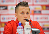 ARLAMOW, POLAND - MAY 30: Piotr Zielinski during press conference at Arlamow Hotel during the second phase of preparation for the 2018 FIFA World Cup Russia on May 30, 2018 in Arlamow, Poland. MB Media