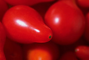 Extreme close up, selective focus photograph of Red Pear tomatoes