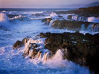 Storm waves crashing on Pacific Rocks, Mendocino California