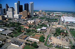 Aerial view of Houston, Texas skyline from east downtown.
