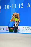 Wegscheider Natascha during qualifying at clubs in Pesaro World Cup 11 April 2015. Natascha was born in Graz , Austria, 1999. She is an Austrian individual rhythmic gymnast.