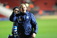 Simon Grayson final whistle celebration during the Sky Bet Championship match between Bristol City and Preston North End at Ashton Gate, Bristol, England on 12 January 2016. Photo by Daniel Youngs.