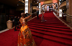 Guests take pictures inside as they wait for the red carpet at the 92nd Academy Awards held at the Dolby Theatre in Hollywood, Los Angeles, USA.
