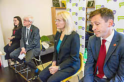 Pictured: Georgie Harris; Mark Lazarowicz, Kirsty Huges and John Edward<br /> <br /> Scottish launch of the campaign for people across the UK to have the final say on Brexit in a 'People's Vote'. Moderated by the incoming chair of the Chair of the European Movement in Scotland, Mark Lazaowicz, speakers included Dr Kirsty Hughes, director of the Scottish Centre on European Relations; Georgie Harris, Vice President Community of the University of Edinburgh Studenst Association and John Edward, former head of the European Parliament Office in Scotland. <br /> <br /> Ger Harley | EEm Date
