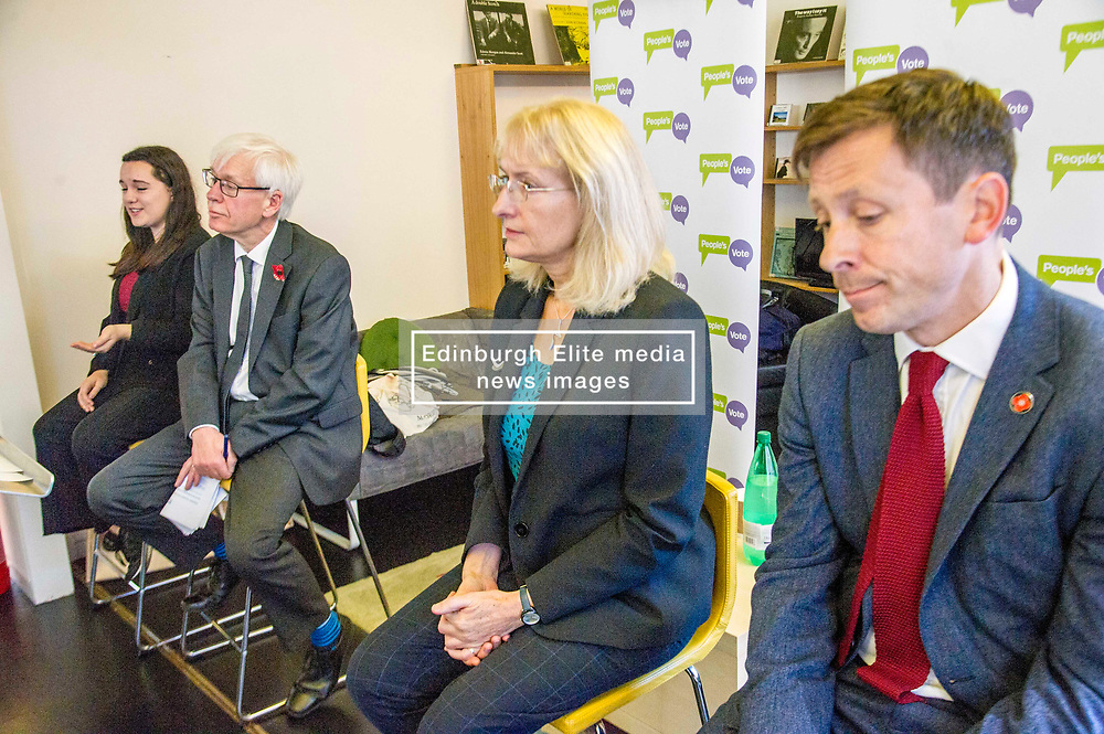 Pictured: Georgie Harris; Mark Lazarowicz, Kirsty Huges and John Edward<br /> <br /> Scottish launch of the campaign for people across the UK to have the final say on Brexit in a 'People's Vote'. Moderated by the incoming chair of the Chair of the European Movement in Scotland, Mark Lazaowicz, speakers included Dr Kirsty Hughes, director of the Scottish Centre on European Relations; Georgie Harris, Vice President Community of the University of Edinburgh Studenst Association and John Edward, former head of the European Parliament Office in Scotland. <br /> <br /> Ger Harley   EEm Date