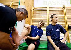 Physiotherapist Teo Djekic, Miha Zupan and Daniel Vujasinovic during practice session of Slovenian National Basketball team during training camp for Eurobasket Lithuania 2011, on July 12, 2011, in Arena Vitranc, Kranjska Gora, Slovenia. (Photo by Vid Ponikvar / Sportida)
