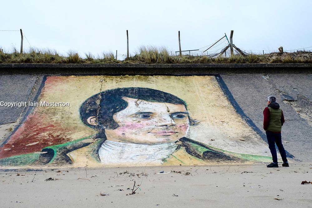 Mural of Robert Burns  ( by Gavin McInnes) painted on seawall at Ardeer in Ayrshire, Scotland, united kingdom