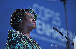 Dec. 15, 2009 - COPENHAGEN, DENMARK - (091216) ¨C COPENHAGEN, Dec. 16, 2009 (Xinhua) ¨C Nobel Peace Prize laureate Wangari Maathai of Kenya addresses the opening ceremony of the high-level segment of UN Climate Change Conference in Copenhagen, capital of Denmark,Dec. 15, 2009. (Credit Image: © Xinhua via ZUMA Wire)