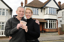 """© Licensed to London News Pictures. 07/01/2012.Bromley couple Graham King and Pamela Rutter have decided to give away their house in a Prize Property Competition. Frustrated after months of being unable to sell the family home because of the current economic climate,  Graham and Partner Pamela from Cromwell Avenue in Bromley have set up a website (www.prizeproperty.co.uk) so that people can view the property and purchase tickets for the competition at £30.00 each, people will have to answer three questions about Bromley to enter. The competition which is due to start this week will run until June 29 2012..Mr King needs to sell 25.000 tickets for the prize draw to go ahead. If fewer than 23,400 tickets are sold a cash prize will be given to the winner instead. Mr King a Business Consultant said """"The biggest challenge will be to sell enough tickets""""..Weather Photo credit : Grant Falvey/LNP"""