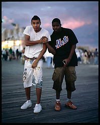 Oscar Vera, 18, and Shawn Brown, 18. Melrose, Bronx. Coney Island teen-agers. Summer 2008.