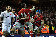 Alex Cuthbert of Wales (14) celebrates with Justin Tupuric ® after he scores his 2nd try. RBS Six nations championship 2013, Wales v England at the Millennium stadium in Cardiff , South Wales on Saturday 16th March 2013. pic by Andrew Orchard, Andrew Orchard sports photography,