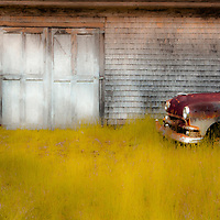 Abandoned service station in Waite, Maine with 1949 Ford sedan
