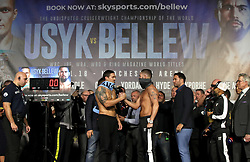 Oleksandr Usyk (left), Tony Bellew (centre) and Promoter Eddie Hearn (right) during the weigh in at Manchester Central. PRESS ASSOCIATION Photo. Picture date: Friday November 9, 2018. See PA story BOXING Manchester. Photo credit should read: Nick Potts/PA Wire