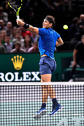 PARIS, Nov. 2, 2017  Rafael Nadal of Spain returns the ball to Chung Hyeon of South Korea during the second round match at the ATP World Tour Masters 1000 Indoor tennis tournament in Paris, France, Nov. 1, 2017. Rafael Nadal won by 2-0. (Credit Image: © Chen Yichen/Xinhua via ZUMA Wire)