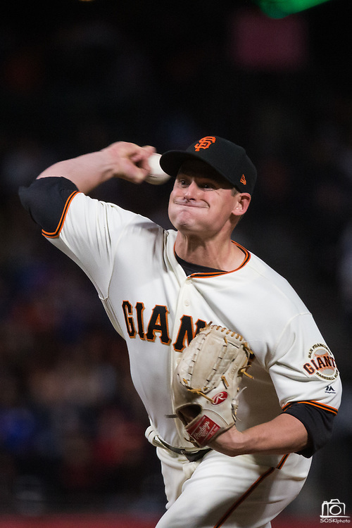 San Francisco Giants relief pitcher Kyle Crick (59) pitches against the Los Angeles Dodgers at AT&T Park in San Francisco, California, on September 13, 2017. (Stan Olszewski/Special to S.F. Examiner)