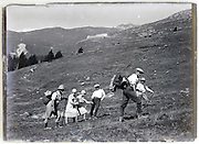 early mountainering tourism on a mountain hike 1900s glass plate Alps St Bernard